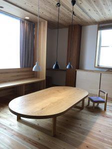 タモの楕円形2wayテーブル